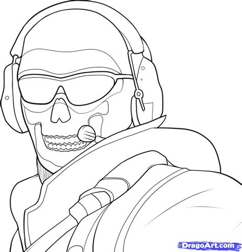 coloring pages of advanced warfare how to draw ghost modern warfare step by step video