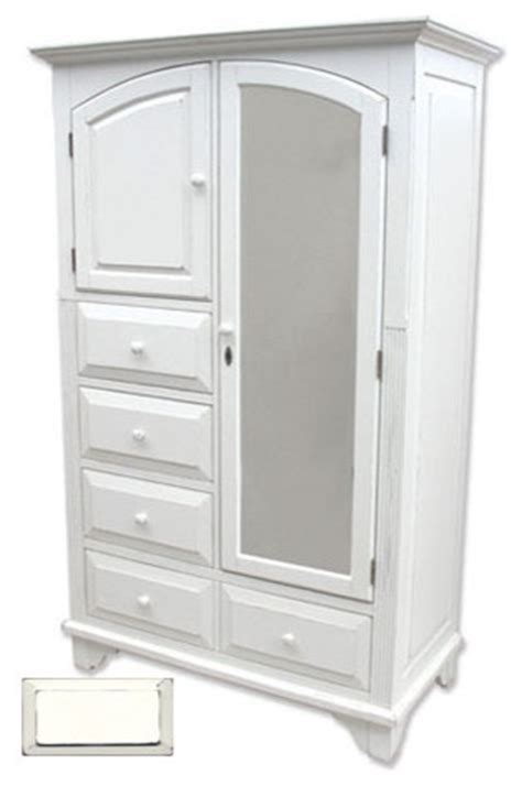 White Armoire Dresser Cottage Style Mirrored Armoire Traditional Dressers