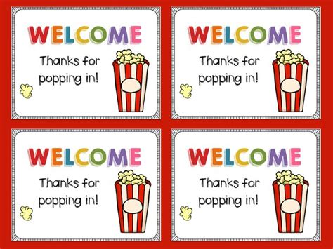printable popcorn letters welcome popcorn themed classroom letter classroom