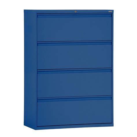 blue metal filing cabinet 800 series 42 in w 4 drawer full pull lateral file