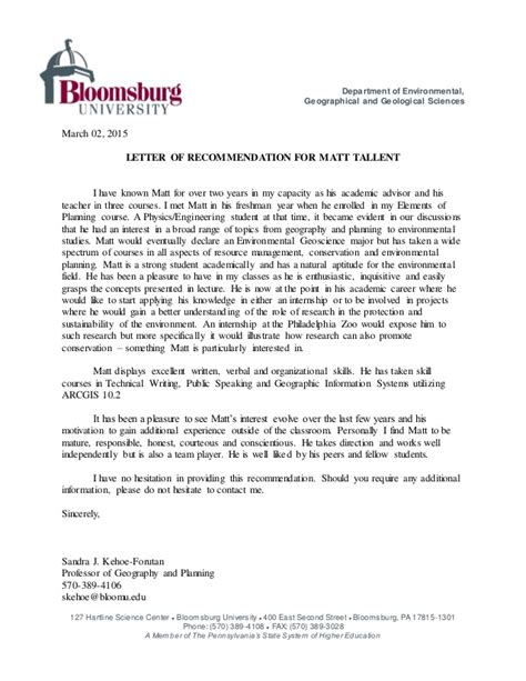 Letter Of Recommendation For Research Scientist Tallent Recommendation Letter 2015