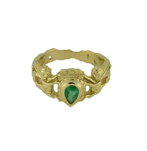 14k gold emerald crown ring galleon shipwreck re