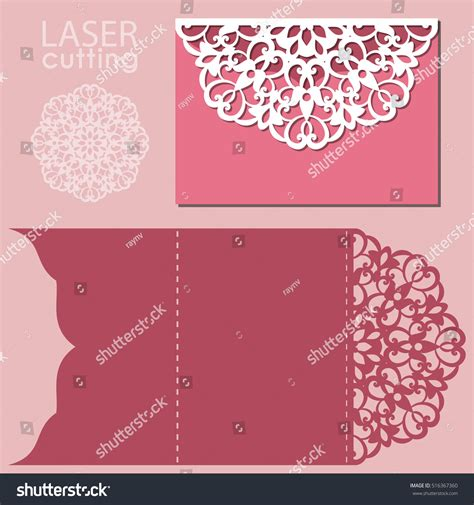 laser cut greeting card template laser cut wedding invitation card template stock vector