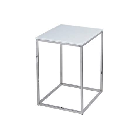 white and silver side table buy white glass and silver metal contemporary square side