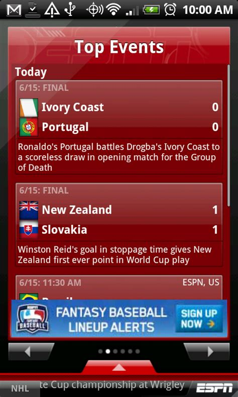 espn android app espn scorecenter app hits android market droid