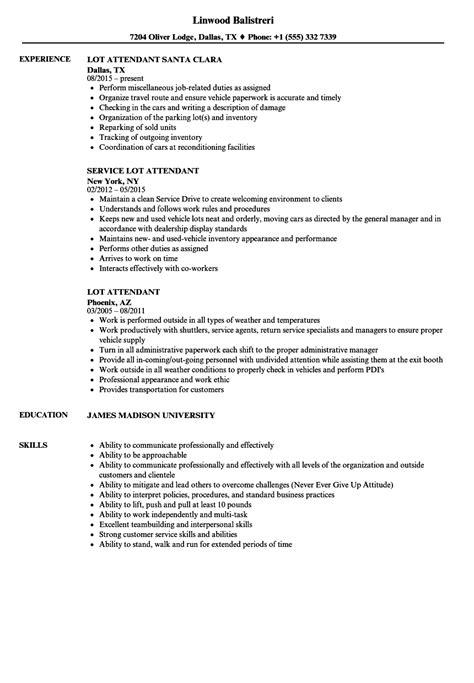 parking attendant sle resume executive assistant