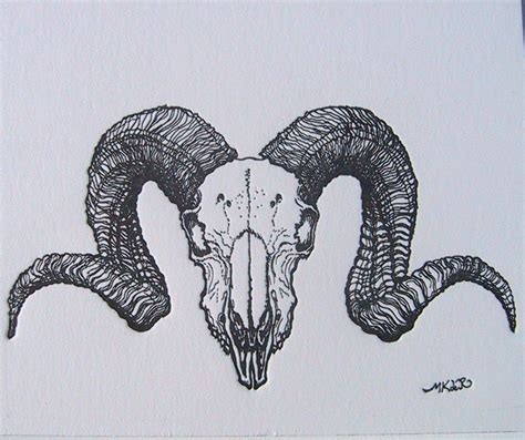 ram skull tattoo ram skull illustration back search