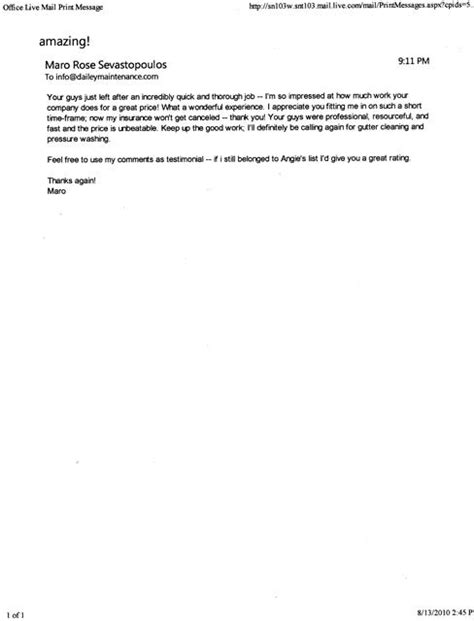 Thank You Letter Work Experience Testimonials Dailey Maintenance Llc