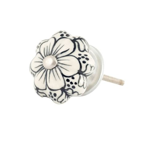 Ceramic Flower Knobs by Samode Ceramic Flower Door Knob White And Black Knobs