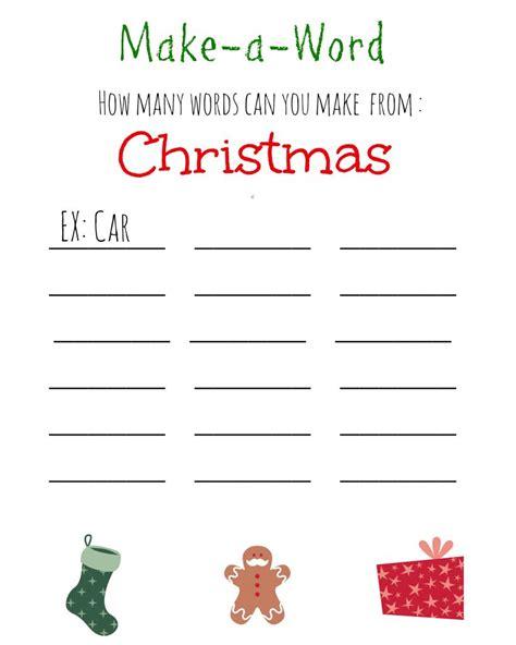 Make Printable Word Games | printable christmas games for kids and adults