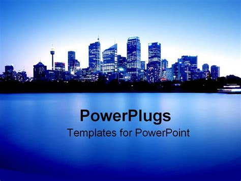 powerpoint template blue city lights at night with ocean