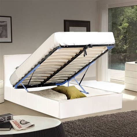King Single Bed Frame With Storage Sabina King Single Gas Lift Storage Bed Frame White Buy