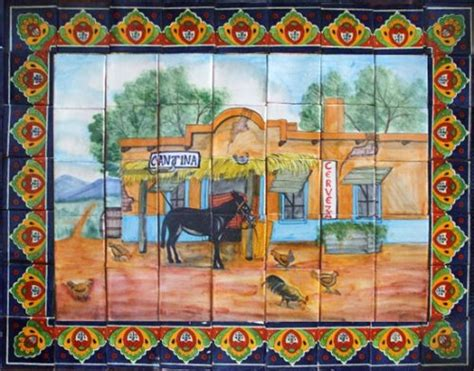 mexican wall murals kitchen tile mural quot the canteen quot mexican tiles 169 kitchen