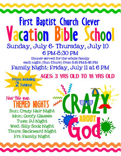 vbs flyer template baptist church vacation bible school clever