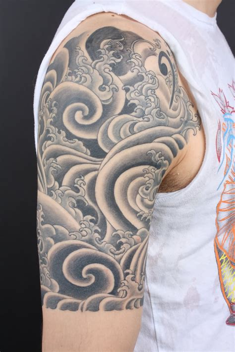 full sleeve tattoo designs black grey 20 cloud tattoos on sleeve