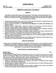 Field Consultant Sle Resume by Oilfield Construction Consultant Resume Template Premium Resume Sles Exle