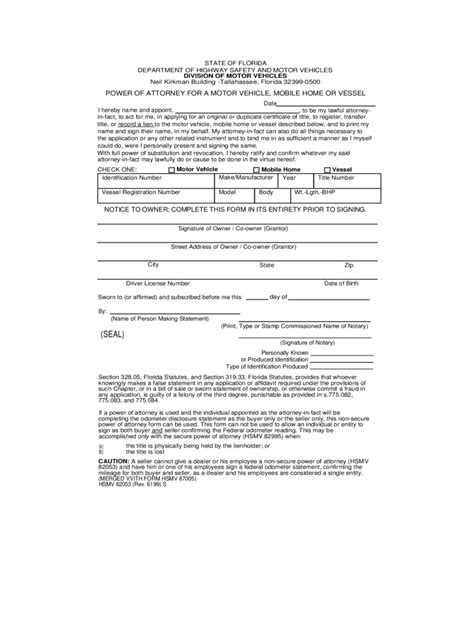 power of attorney template florida florida power of attorney form free templates in pdf