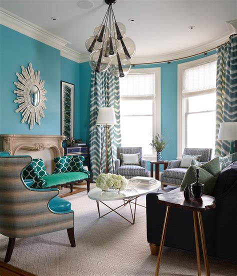 Aqua Green Living Room by Massucco Warner Miller Interior Design