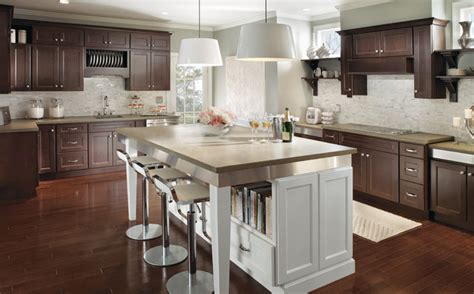 espresso kitchen island rta espresso kitchen cabinets with white island roy home design