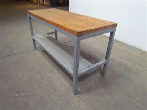 butcher block work benches welded steel industrial work bench w 1 3 4 quot butcher block