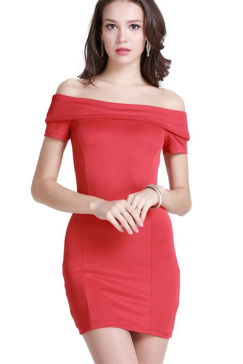 Red Off Shoulder Sexy Bodycon Holiday Dress @ Party Dresses,Women Party Dresses,Club Party