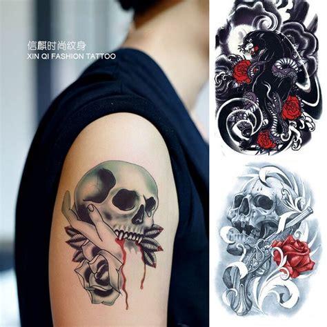 full body fake tattoo popular rose skull buy cheap rose skull lots from china