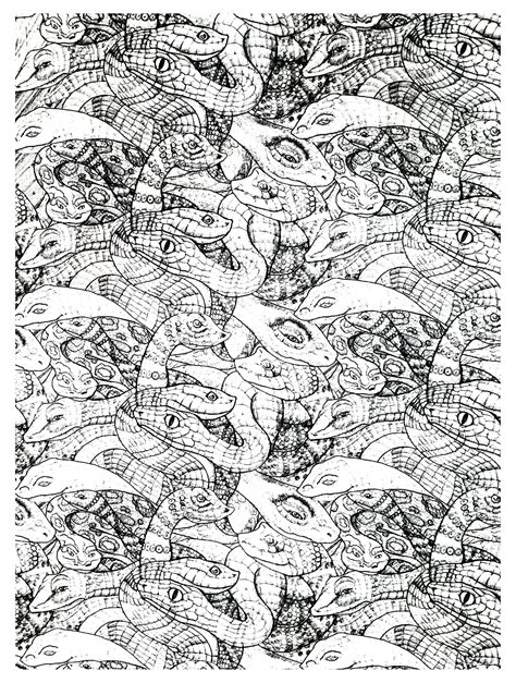 complex coloring pages of animals free coloring page coloring adults snakes complex very