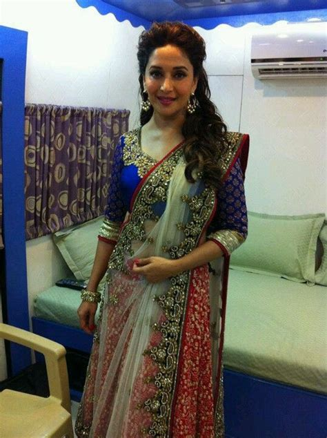 lehenga hairstyles for oval face madhuri dixit in lehenga and blouse make up n hairstyle