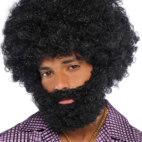 Black Afro Wig And Beard Set   Wigs By Unique