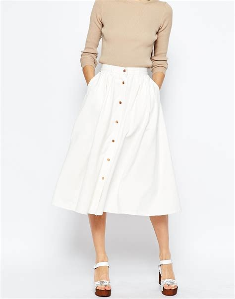 asos denim high waisted button through midi skirt in white