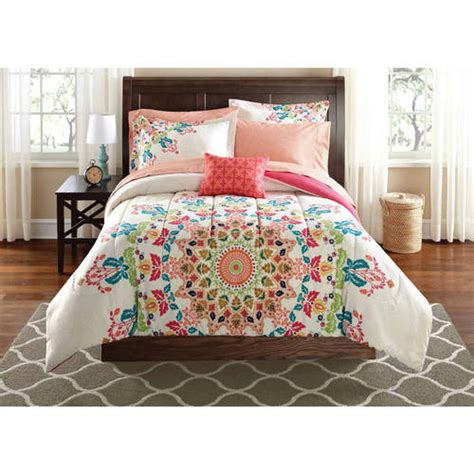 walmart bed in a bag sets mainstays medallion bed in a bag bedding set walmart com