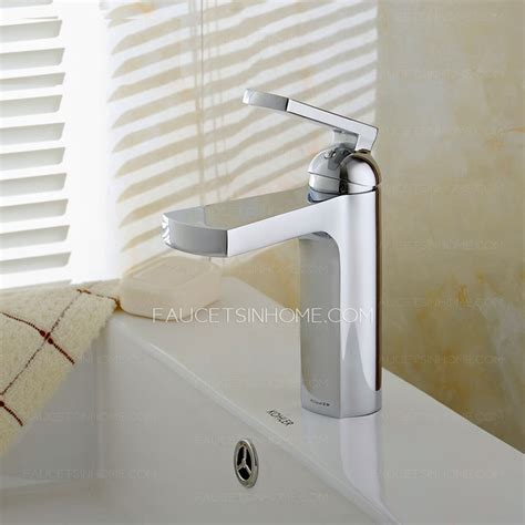 cool bathroom sink faucets cool sector shaped waterfall deck mount faucet for bathroom