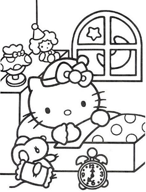 hello kitty sleeping coloring pages hello kitty ready to sleep free coloring pages