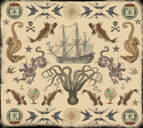 old sailor tattoos nautical mandala fabric novelatelier spoonflower