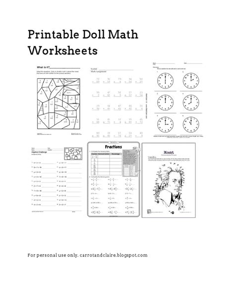 American Doll School Worksheets by Doll Math Worksheets Drive Pdf Drive