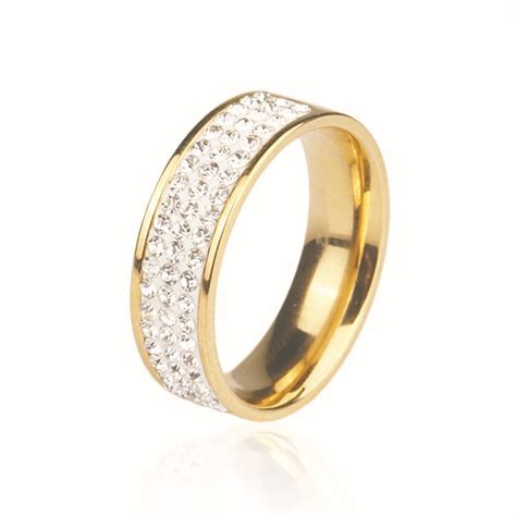 simple fashion wedding ring white 18k gold plated
