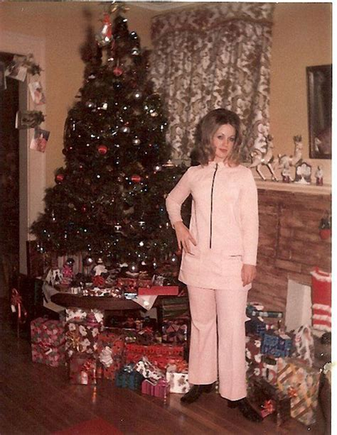 christmas tree in 1970s mid century enjoying real trees