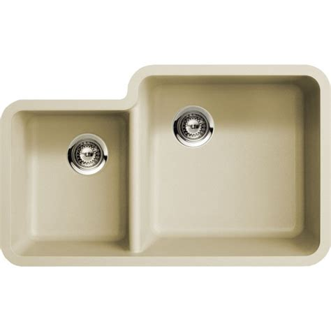 beige kitchen sinks beige quartz composite 40 60 double bowl undermount