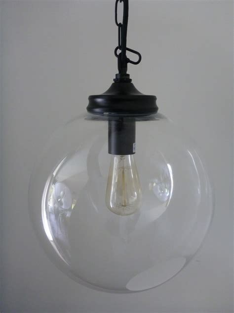Glass Globe Pendant Lights Clear Glass Globe Pendant 30cm