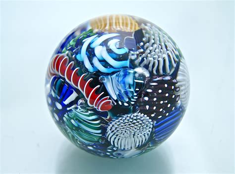 Glass Paper Weight - micro reef sphere paperweight by michael egan