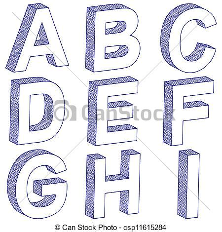 vecteur de a i dessin lettre 3d 3d 233 gratignure lettres depuis csp11615284