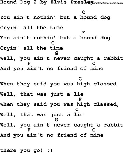 puppy songs hound 2 by elvis lyrics and chords