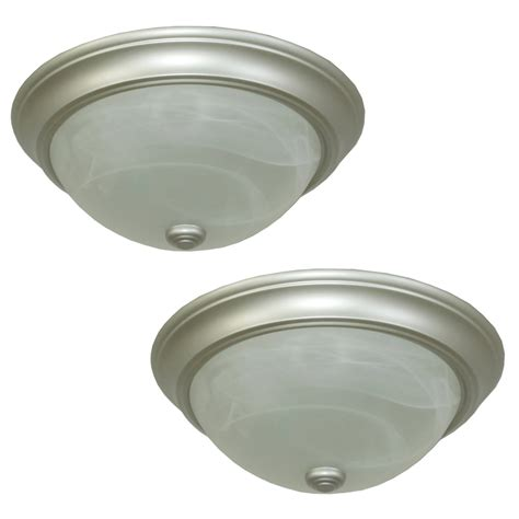 satin nickel flush mount ceiling light shop project source 2 pack 13 in w satin nickel flush