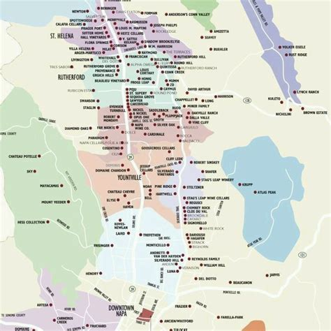 san jose to napa map map of napa valley wineries wine
