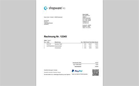 Moderne Rechnungsvorlage Shopware Rechnung Mit Paypal Qr Code