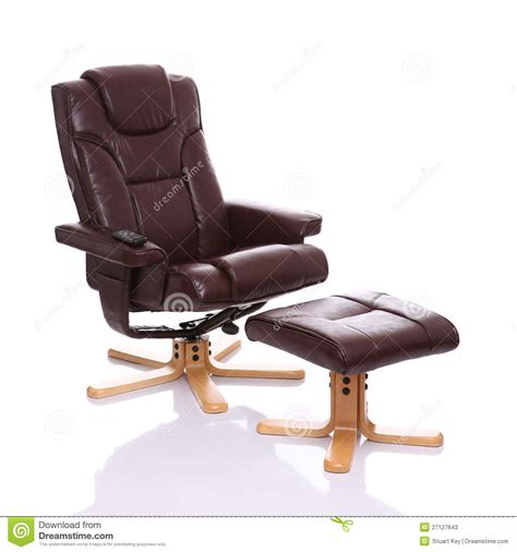 Leather Heated Recliner Chair With Footstool Stock Image