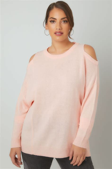 Address Finder From Name And Town Limited Collection Blush Pink Cold Shoulder Knitted Jumper With Lattice Back Plus