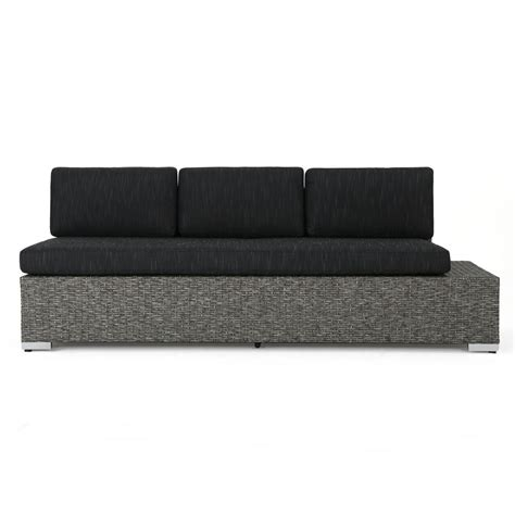 Black Sofa Cushions by Noble House Puerta Mixed Black Wicker Outdoor Sofa With