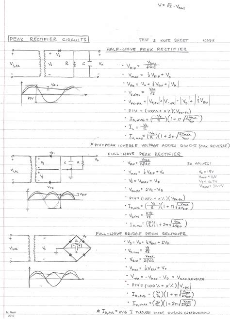 rectifier circuit equations college sheets rf cafe