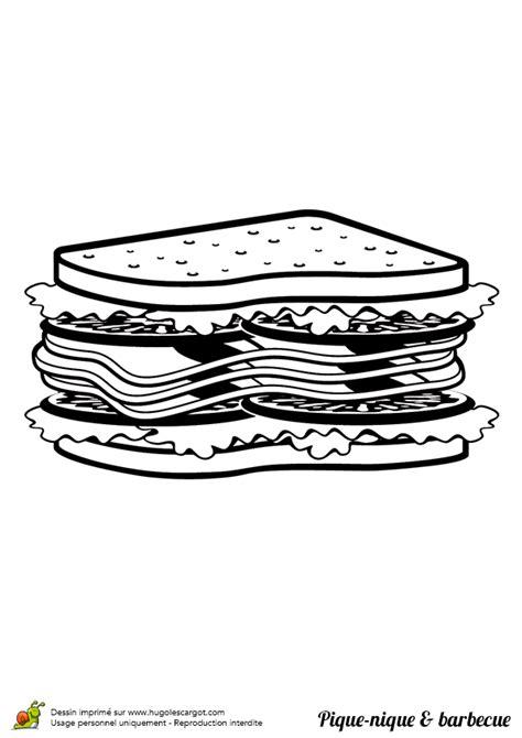 Coloriage pique nique barbecue salami sur Hugolescargot.com